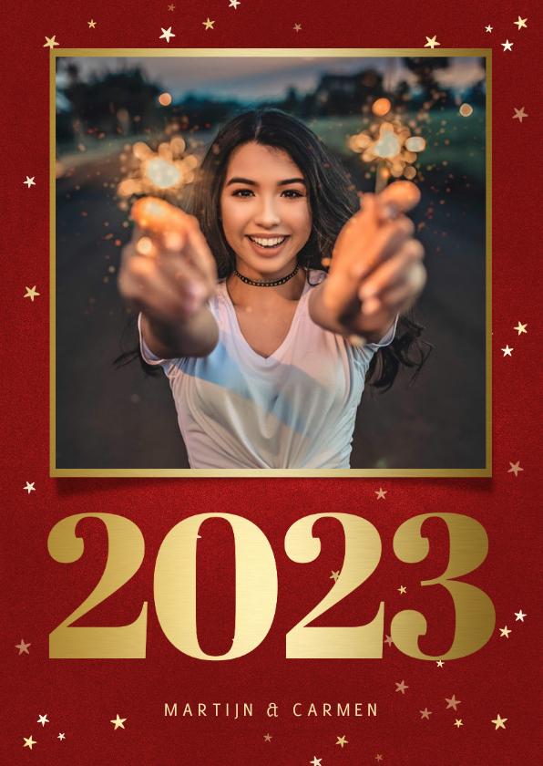 Nieuwjaarskaarten - Nieuwjaarskaart met foto, gouden 2022 en sterren