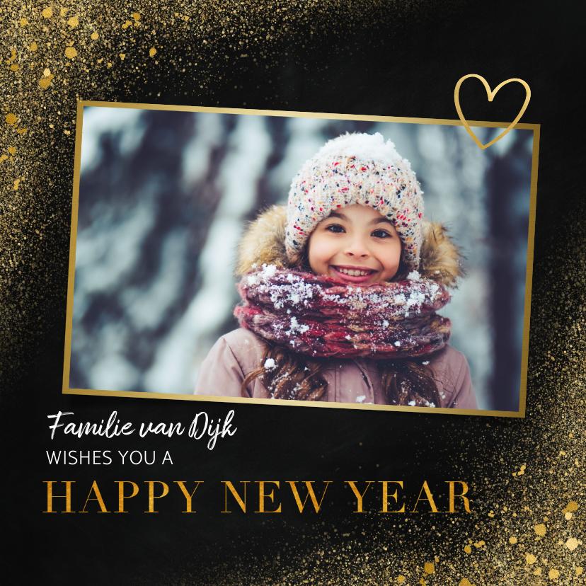 Nieuwjaarskaarten - Nieuwjaarskaart met foto, goudlook en happy new year