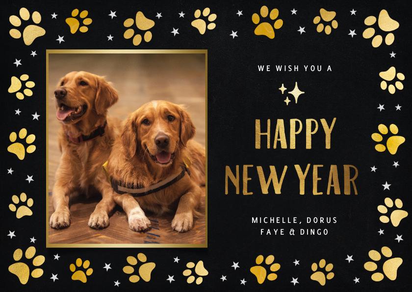 Nieuwjaarskaarten - Nieuwjaarskaart met foto huisdier en honden pootafdrukjes