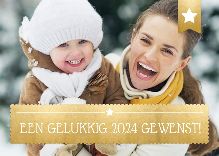 Nieuwjaarskaarten - Nieuwjaarskaart met foto op de achtergrond en gouden vlak