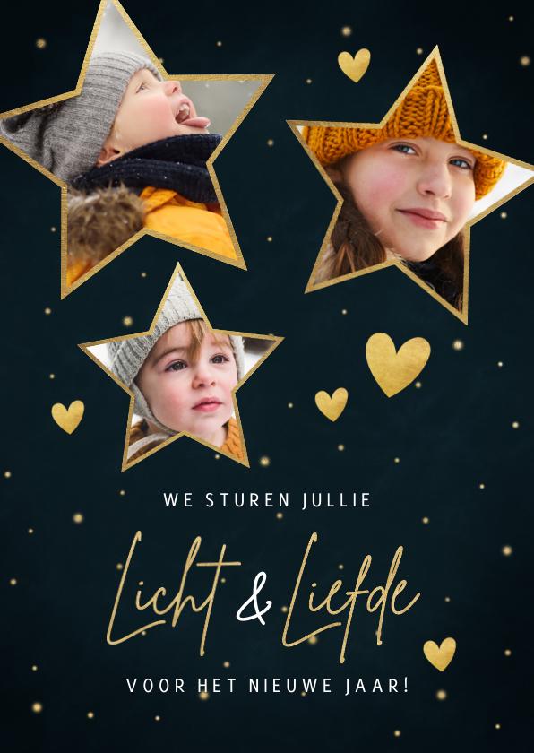 Nieuwjaarskaarten - Nieuwjaarskaart met foto's in sterren liefde en licht