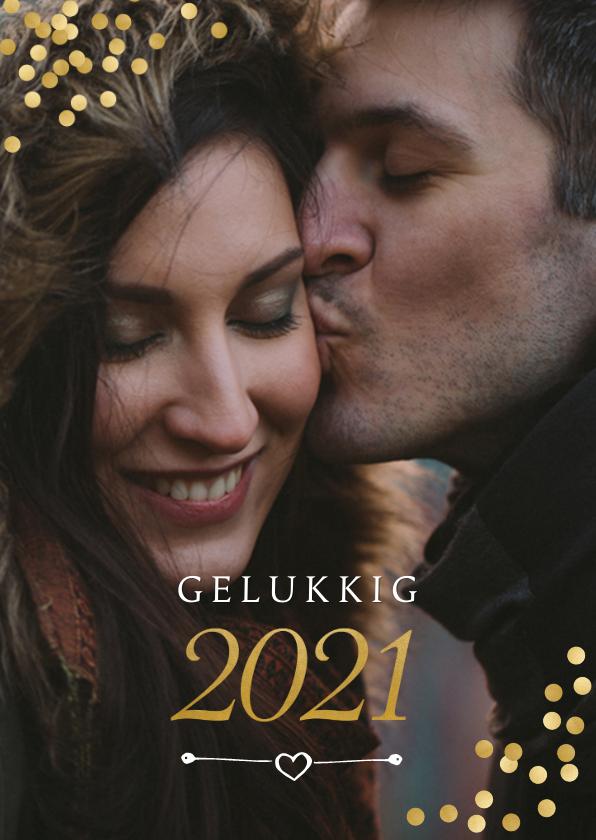 Nieuwjaarskaarten - Nieuwjaarskaart met gouden confetti en evt. uitnodiging