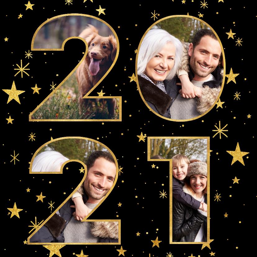 Nieuwjaarskaarten - Nieuwjaarskaart met gouden sterren en 2020 fotocollage