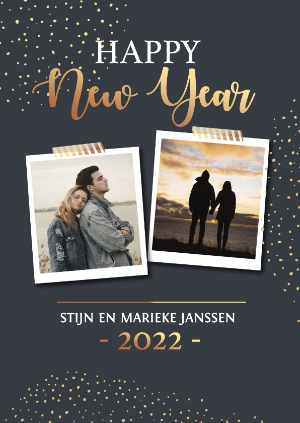 Nieuwjaarskaarten - Nieuwjaarskaart met goudlook stipjes