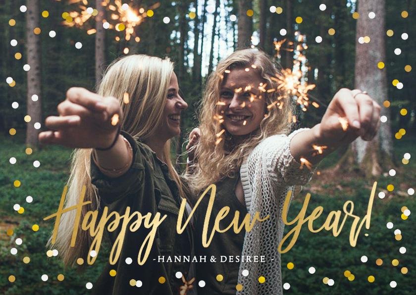 Nieuwjaarskaarten - Nieuwjaarskaart met grote foto, goud en confetti kader