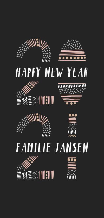 Nieuwjaarskaarten - Nieuwjaarskaart met kleurrijke '2021' illustratie