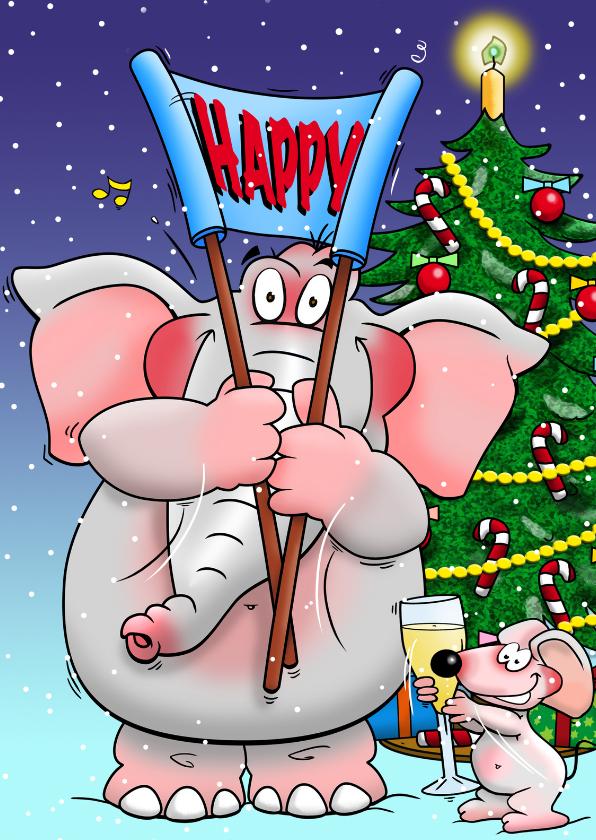 Nieuwjaarskaarten - Nieuwjaarskaart met olifant en muis