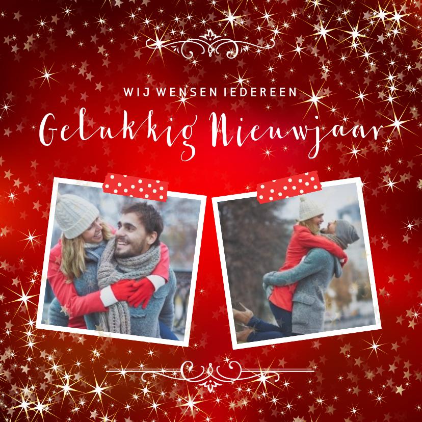 Nieuwjaarskaarten - Nieuwjaarskaart met sfeervolle rode achtergrond van sterren