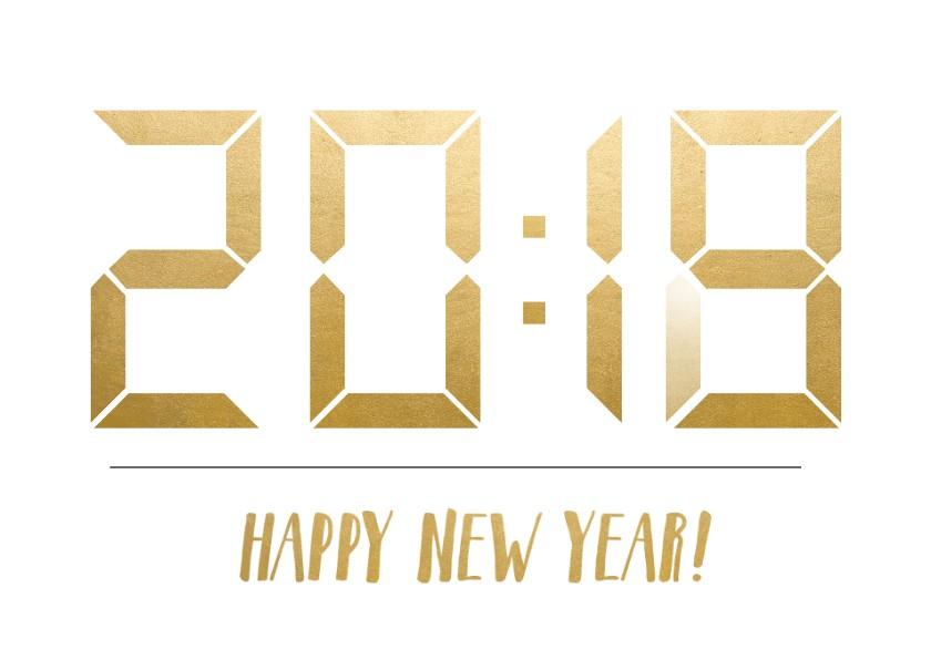 Nieuwjaarskaarten - Nieuwjaarskaart met tijdstip 20:18 die verandert in 20:19