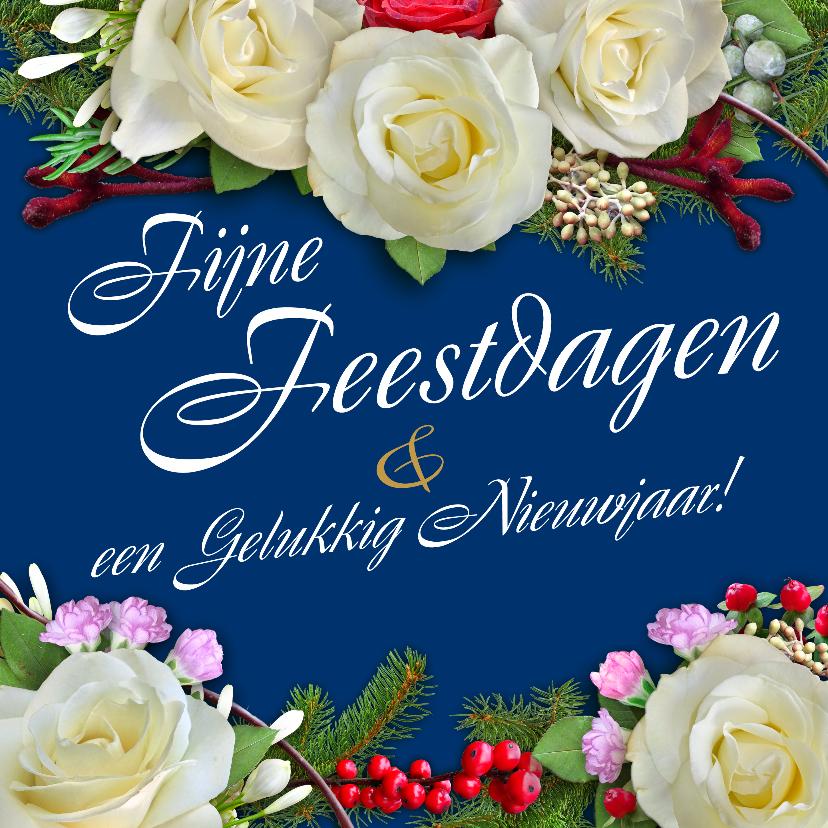 Nieuwjaarskaarten - Nieuwjaarskaart met witte rozen en andere bloemen