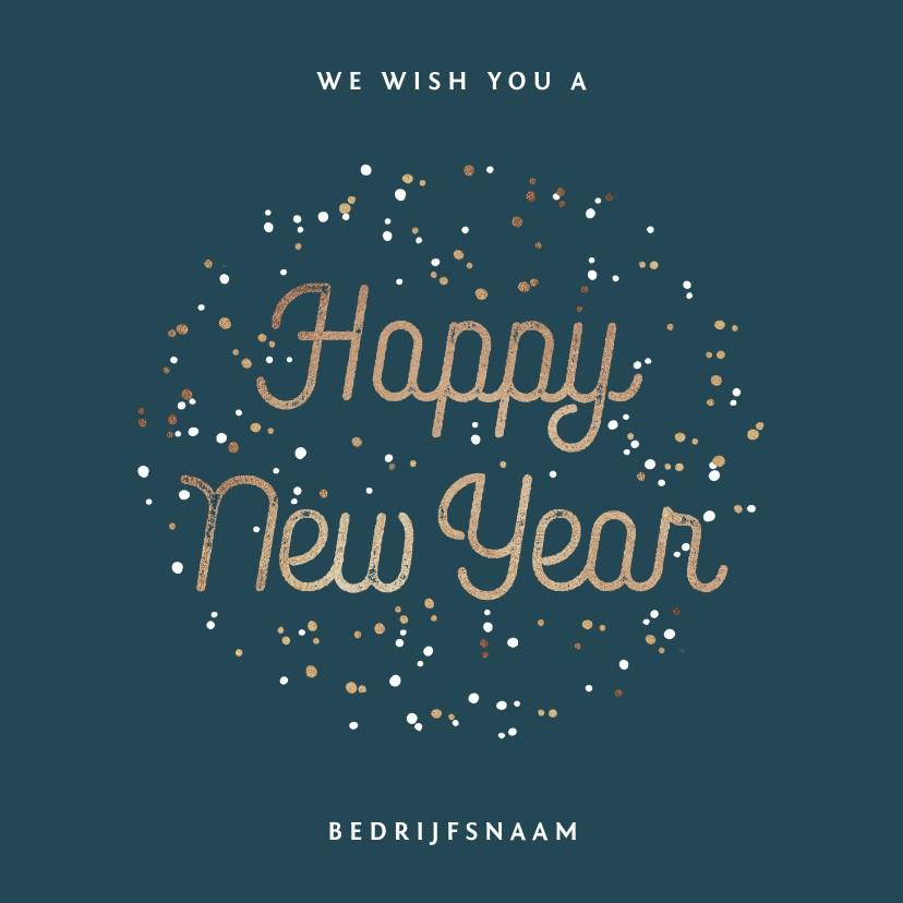 Nieuwjaarskaarten - Nieuwjaarskaart nieuwjaarsborrel goudlook confetti zakelijk