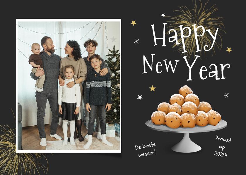 Nieuwjaarskaarten - Nieuwjaarskaart oliebollen happy new year foto sterren