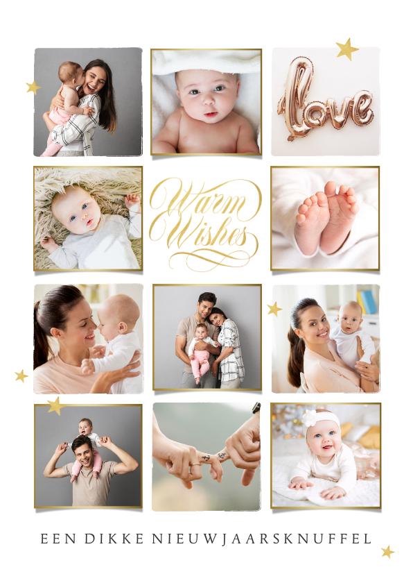 Nieuwjaarskaarten - Nieuwjaarskaart persoonlijk warm wishes goud sterren