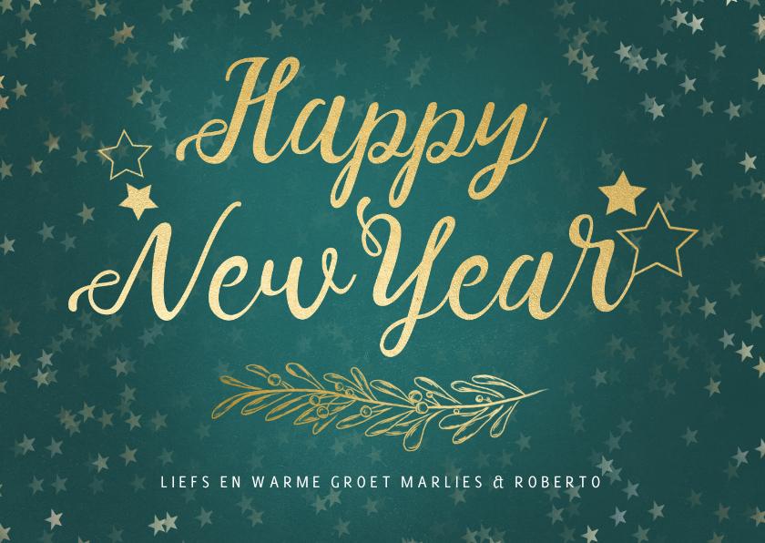 Nieuwjaarskaarten - Nieuwjaarskaart petrol gouden sterren - een gouden kerst