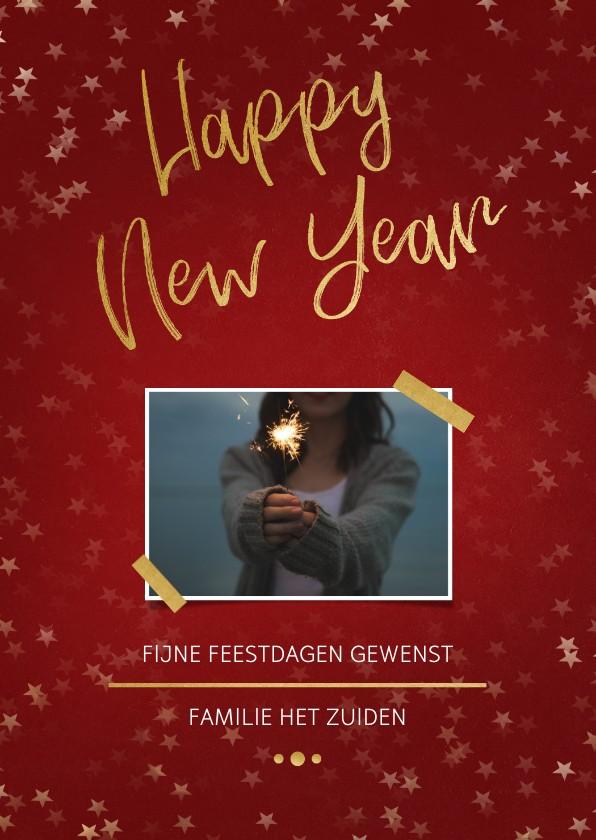 Nieuwjaarskaarten - Nieuwjaarskaart rood en goud met foto