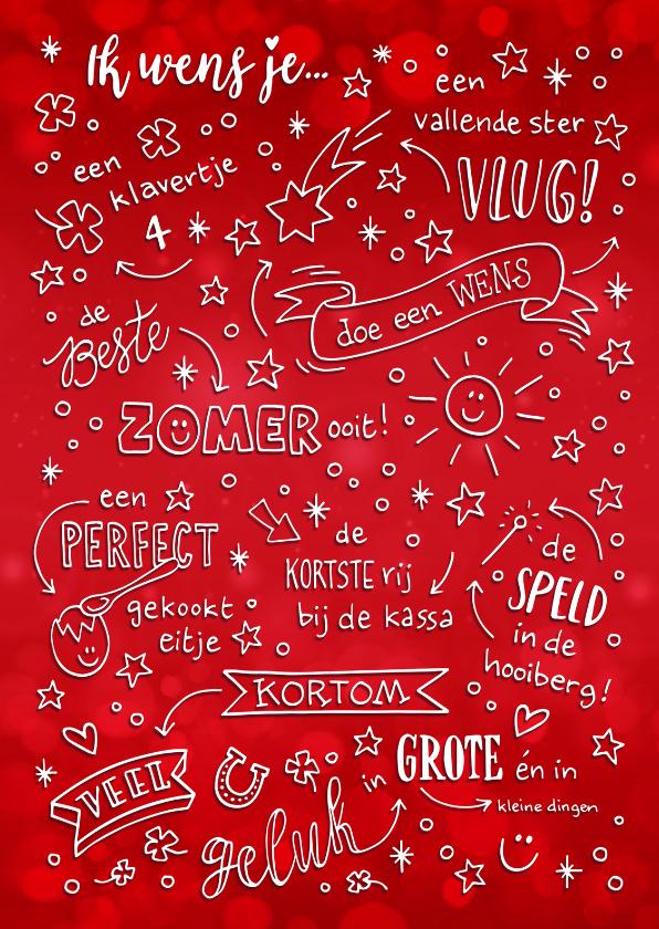 Nieuwjaarskaarten - Nieuwjaarskaart rood geletterd