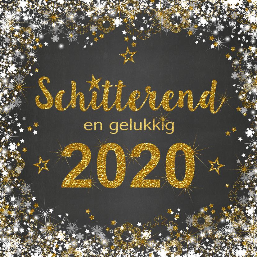 Nieuwjaarskaarten - Nieuwjaarskaart schitterend 2019 grijs en goud