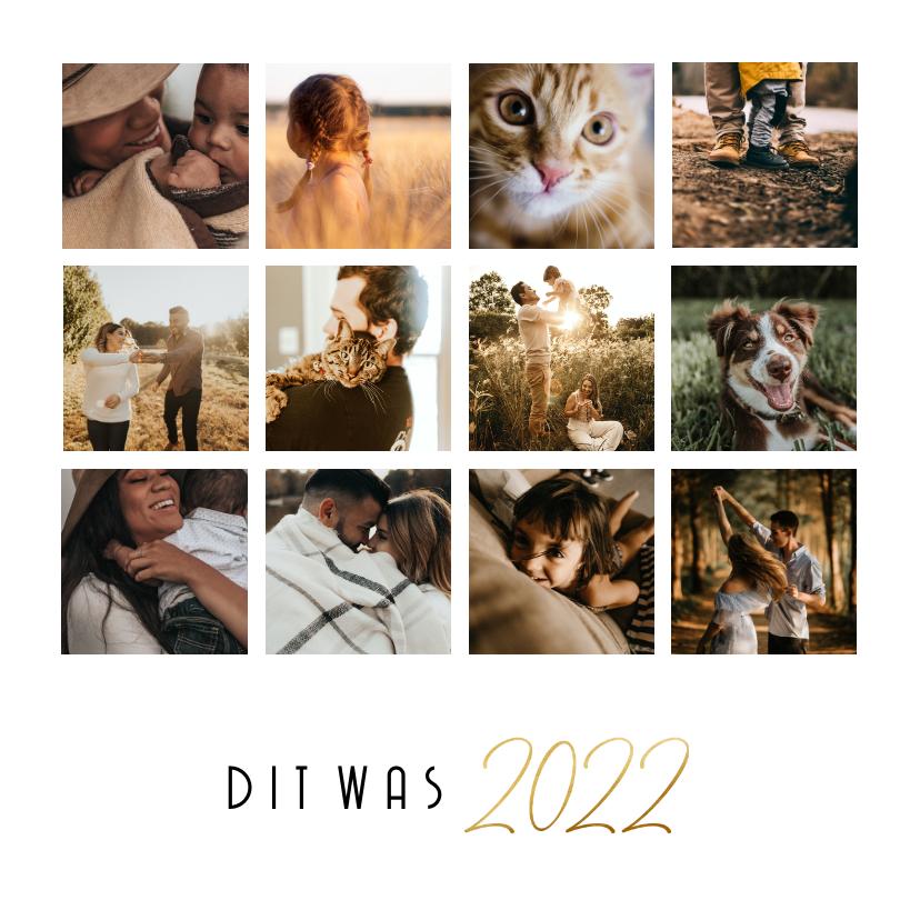 Nieuwjaarskaarten - Nieuwjaarskaart simpele fotocollage 12 foto's