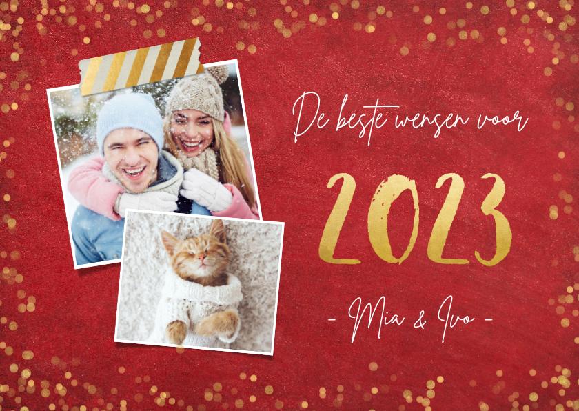 Nieuwjaarskaarten - Nieuwjaarskaart stijlvol 2022 goud en rode achtergrond