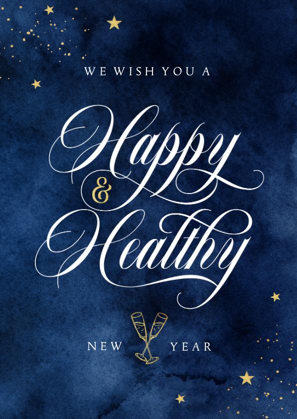 Nieuwjaarskaarten - Nieuwjaarskaart stijlvol happy and healthy 2022 corona