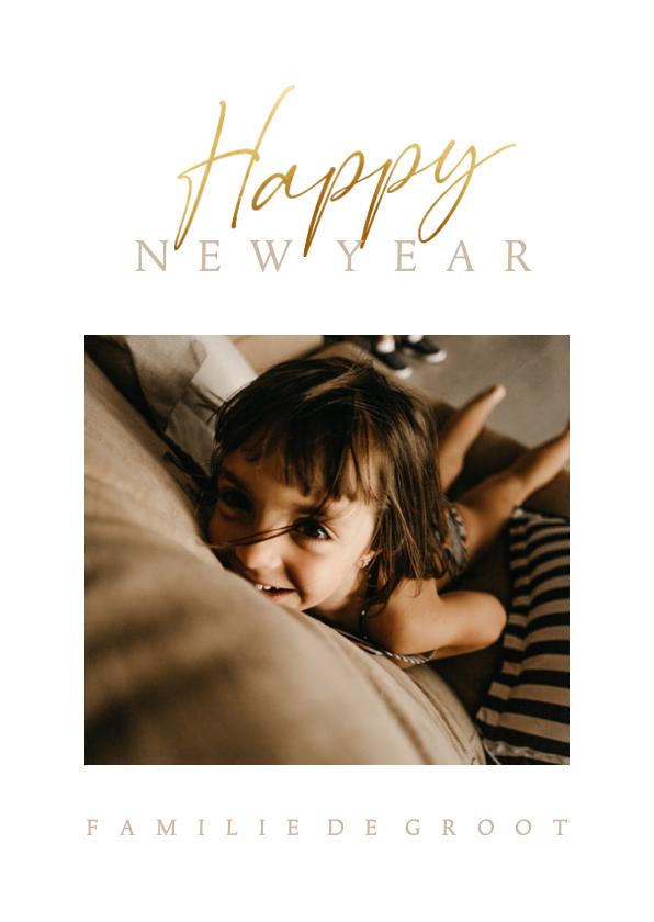 Nieuwjaarskaarten - Nieuwjaarskaart stijlvol met foto en gouden tekst