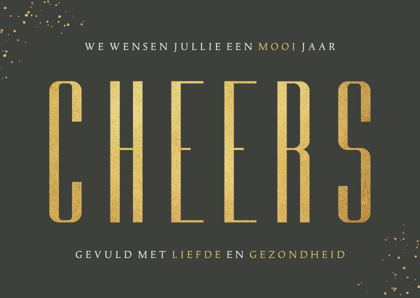 Nieuwjaarskaarten - Nieuwjaarskaart stijlvol olijfgroen goud foto cheers