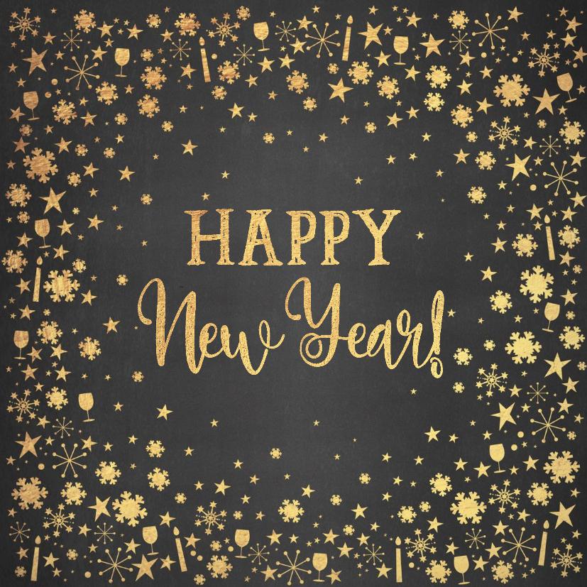 Nieuwjaarskaarten - Nieuwjaarskaart stijlvolle feestelijke kaart krijtbord goud