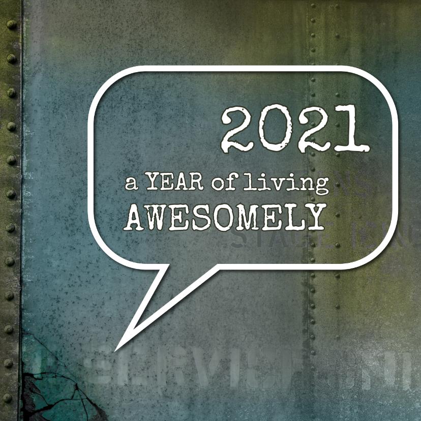 Nieuwjaarskaarten - Nieuwjaarskaart stoer awesome 2020 spreuk