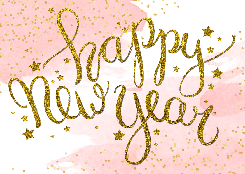 Nieuwjaarskaarten - Nieuwjaarskaart tekst aquarel glitter