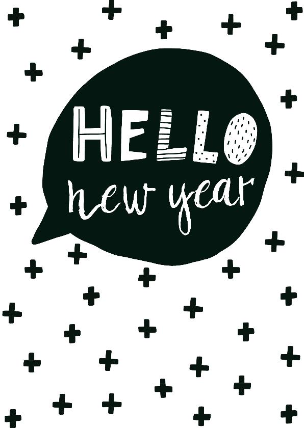 Nieuwjaarskaarten - Nieuwjaarskaart tekstballon - WW