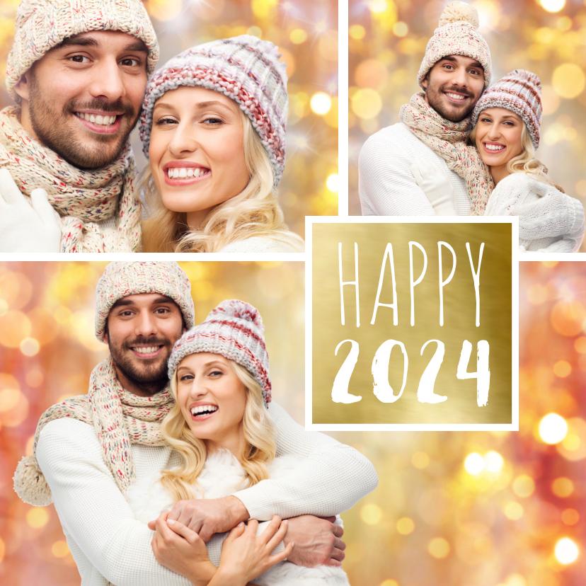 Nieuwjaarskaarten - Nieuwjaarskaart trendy fotocollage  goud