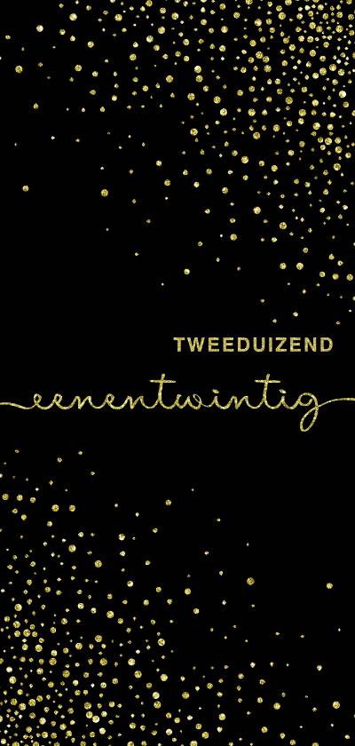 Nieuwjaarskaarten - Nieuwjaarskaart 'tweeduizendeenentwintig' met glittereffect