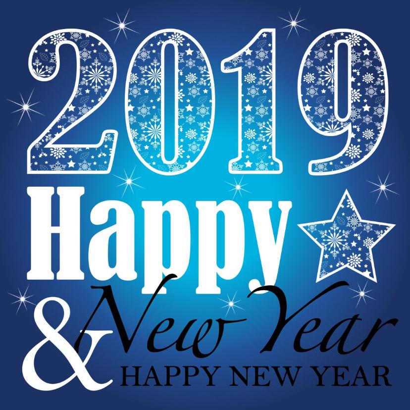 Nieuwjaarskaarten - Nieuwjaarskaart  typografie blauw design