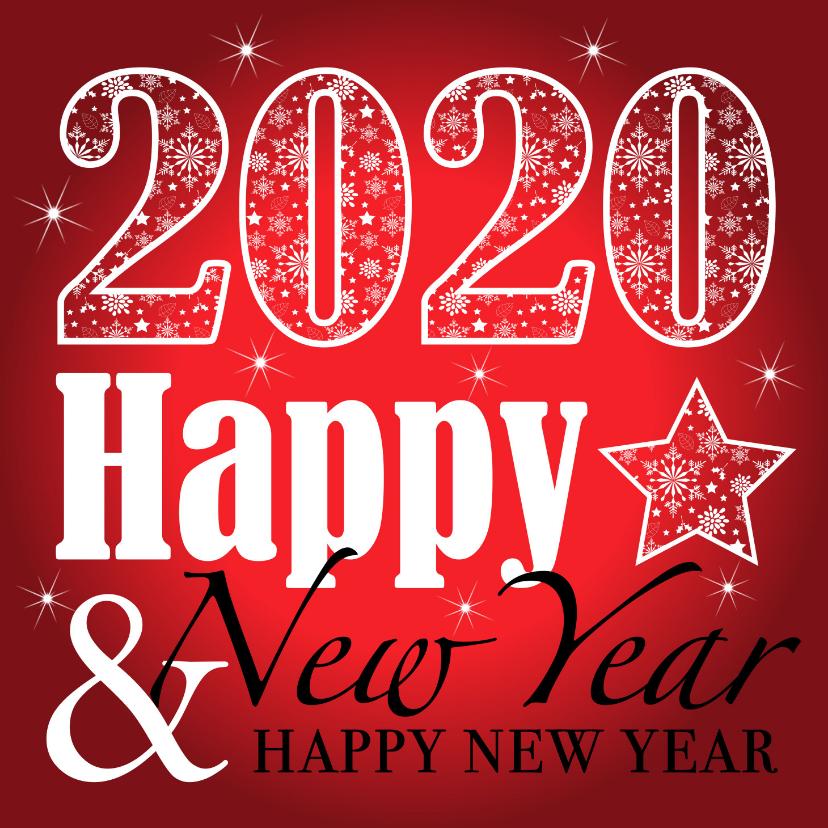 Nieuwjaarskaarten - Nieuwjaarskaart typografie rood Happy 2020