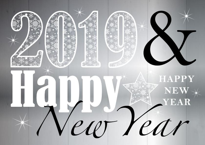 Nieuwjaarskaarten - Nieuwjaarskaart typografie zilver design