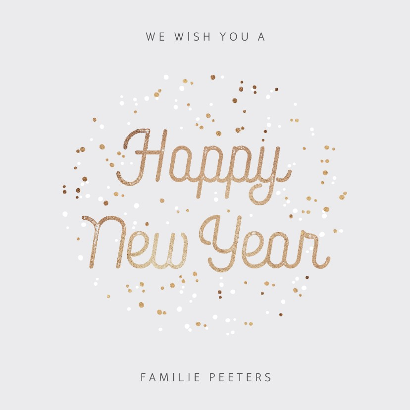Nieuwjaarskaarten - Nieuwjaarskaart typografisch met goudlook confetti