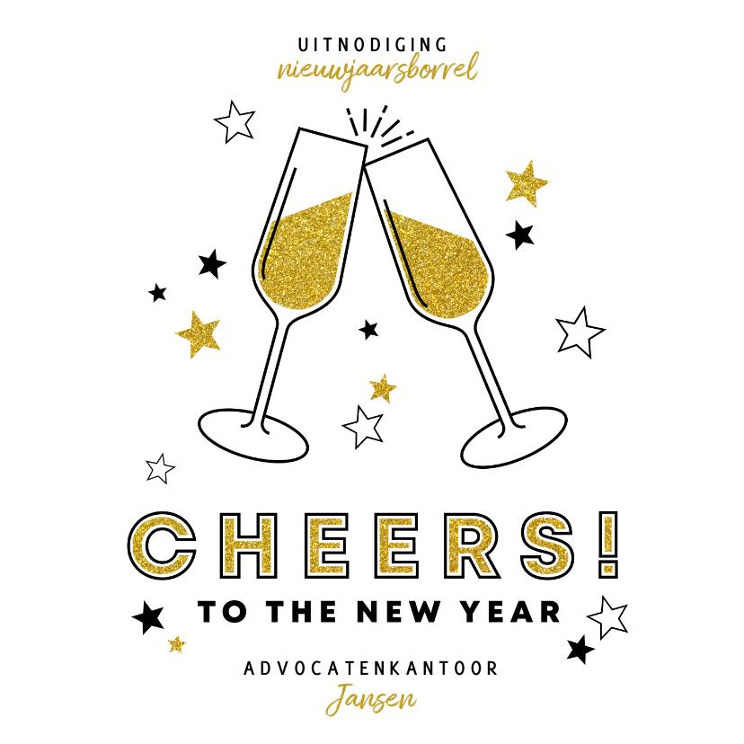Nieuwjaarskaarten - Nieuwjaarskaart uitnodiging borrel champagne en sterren