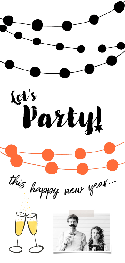 Nieuwjaarskaarten - Nieuwjaarskaart uitnodiging party slingers