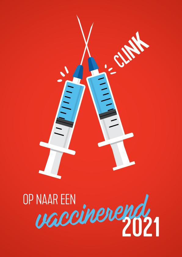Nieuwjaarskaarten - Nieuwjaarskaart vaccinerend Nieuwjaar