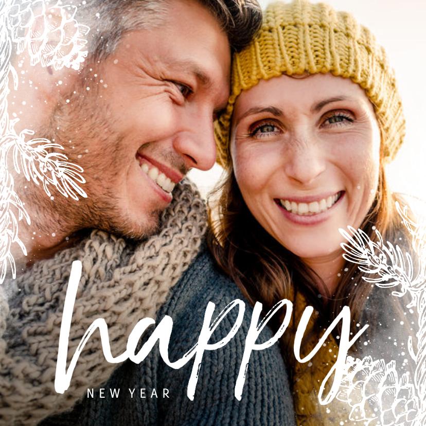 Nieuwjaarskaarten - Nieuwjaarskaart vierkant dennentakje met foto achtergrond