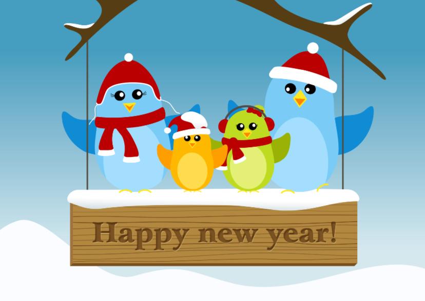 Nieuwjaarskaarten - Nieuwjaarskaart vogels op bord