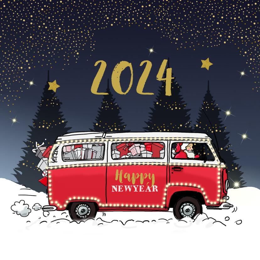 Nieuwjaarskaarten - Nieuwjaarskaart Volkswagenbusje