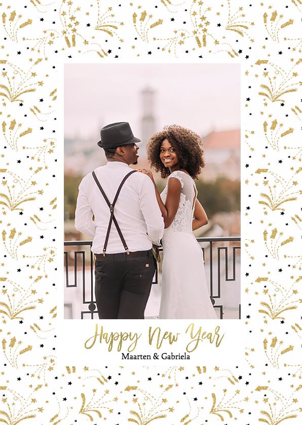 Nieuwjaarskaarten - Nieuwjaarskaart vuurwerk goud