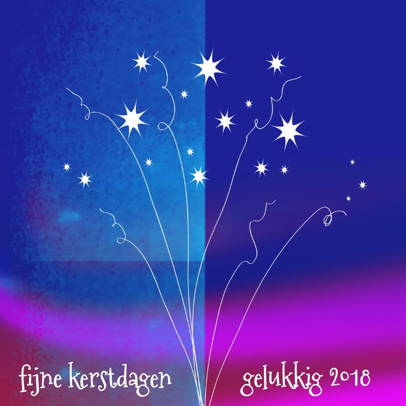Nieuwjaarskaarten - Nieuwjaarskaart vuurwerk kleur