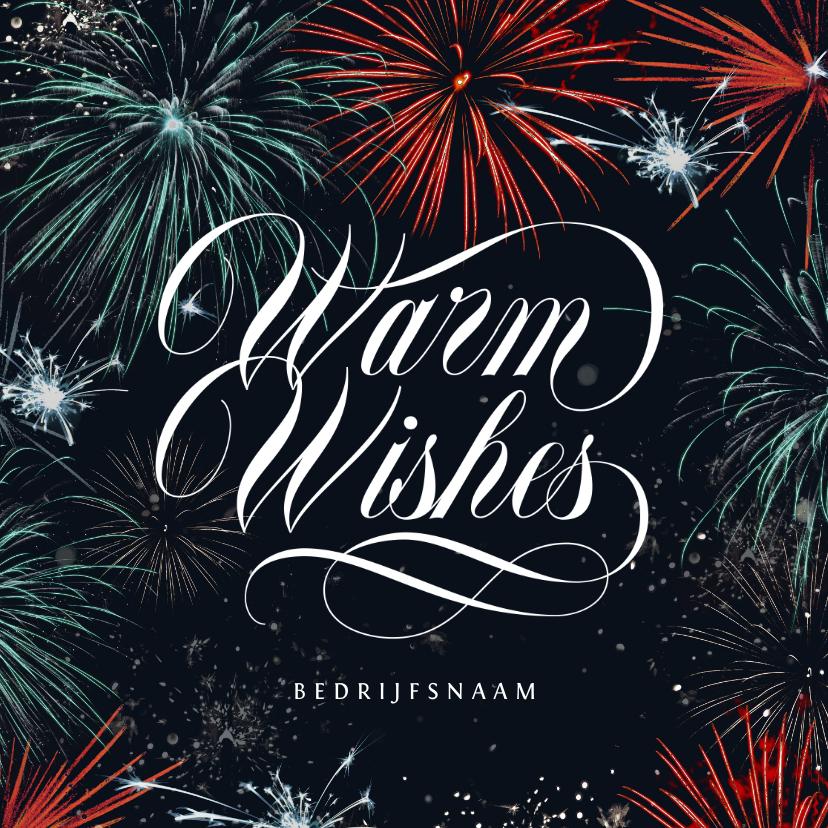 Nieuwjaarskaarten - Nieuwjaarskaart vuurwerk stijlvol zakelijk warm wishes