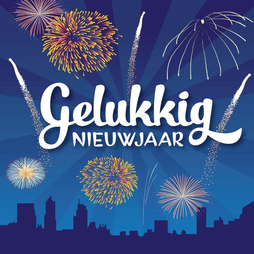 Nieuwjaarskaarten - Nieuwjaarskaart vuurwerk vrolijk stad