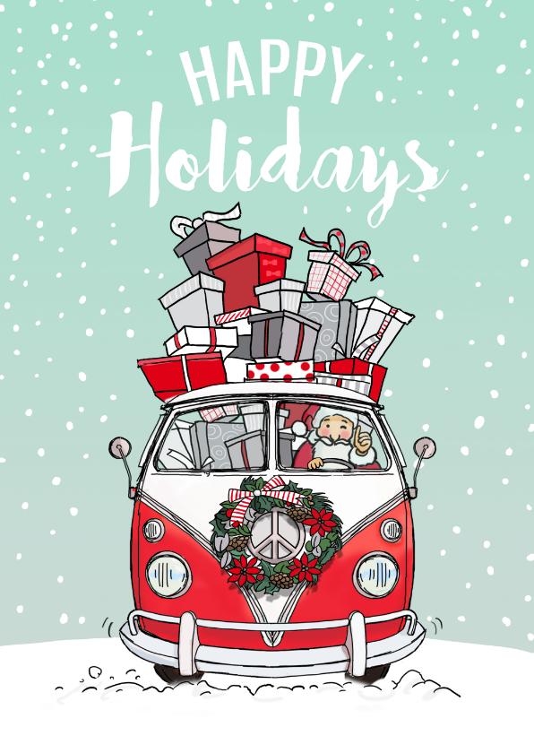 Nieuwjaarskaarten - nieuwjaarskaart VWbusje rood av
