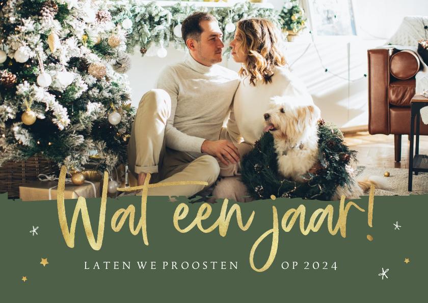 Nieuwjaarskaarten - Nieuwjaarskaart wat een jaar goud sterren foto