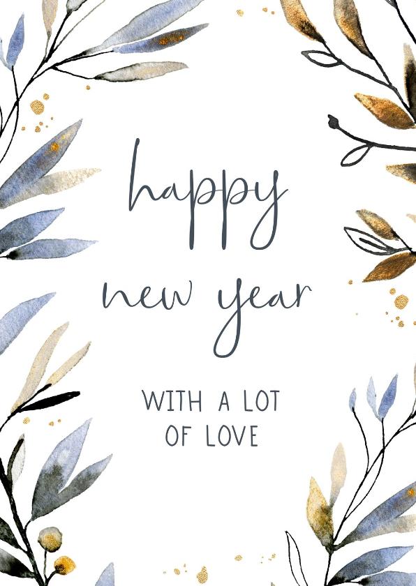 Nieuwjaarskaarten - Nieuwjaarskaart waterverf blauw-goud