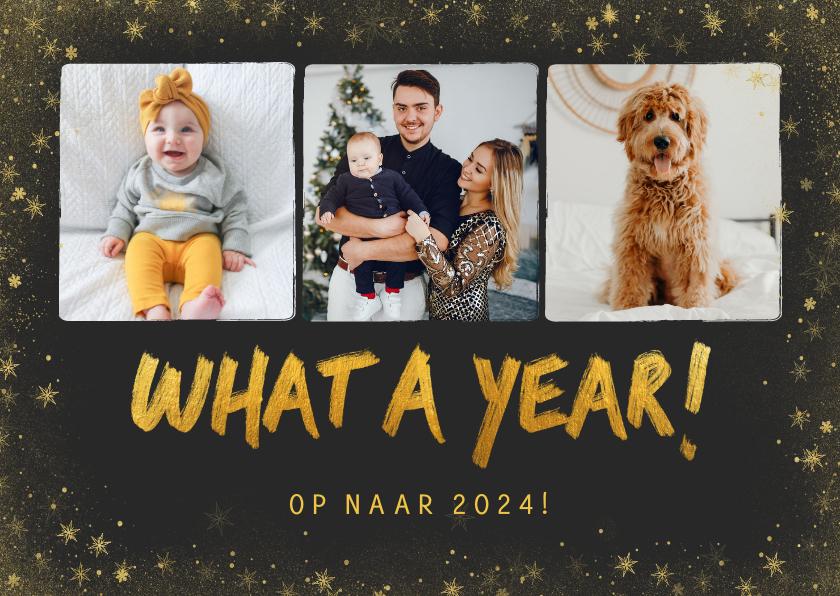 Nieuwjaarskaarten - Nieuwjaarskaart What a year met fotocollage